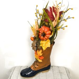 Winter fall nature lover duck boot pumpkin bouquet